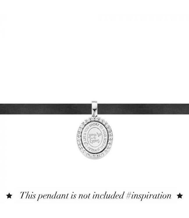 Mi Moneda Choker Necklace Suede 925 Silver