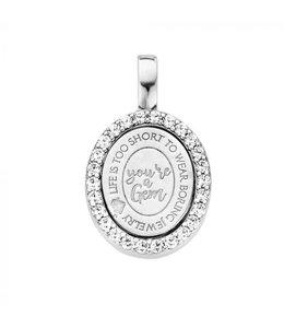 Mi Moneda Pendant Brooklyn 925 Silver Oval Crystals