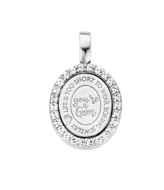 Mi Moneda Pendant Brooklyn 925 Silver Oval Crystals