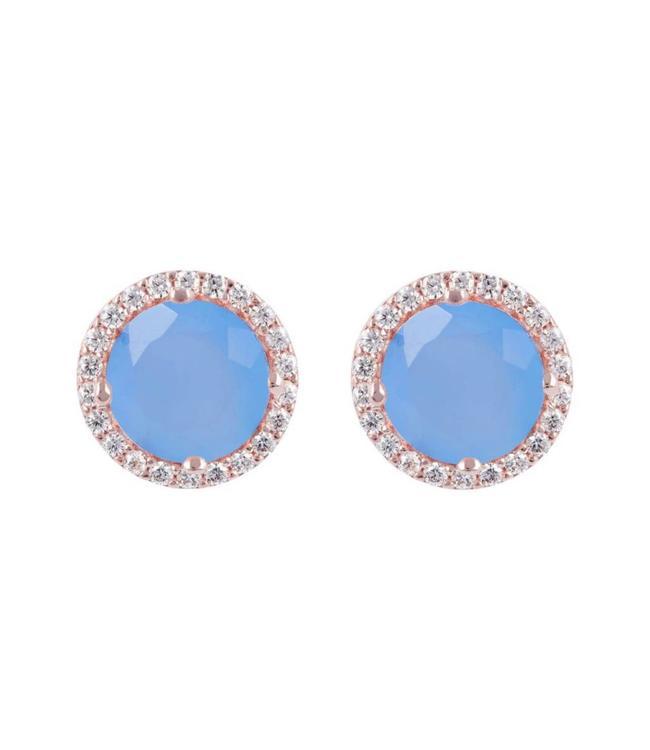 Bronzallure Oorbel Preziosa Blue Gemstone