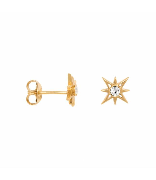 Eline Rosina Oorbel North star earrings in gold plated sterling silver