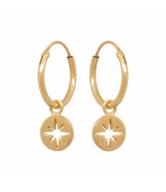 Eline Rosina Boucles d'oreilles North star coin hoops gold