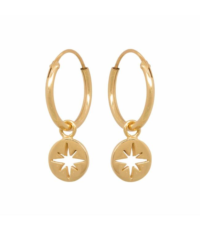Eline Rosina Oorbel North star coin hoops gold