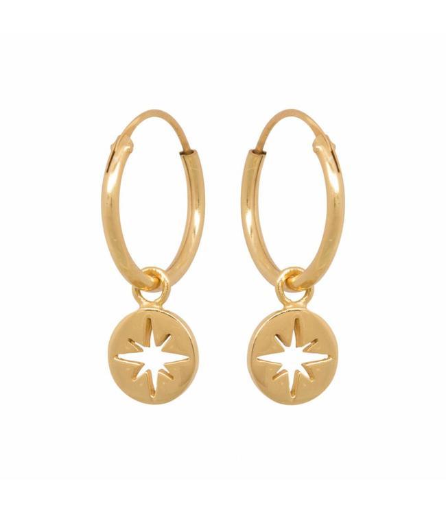 Eline Rosina Oorbel North star coin hoops goud
