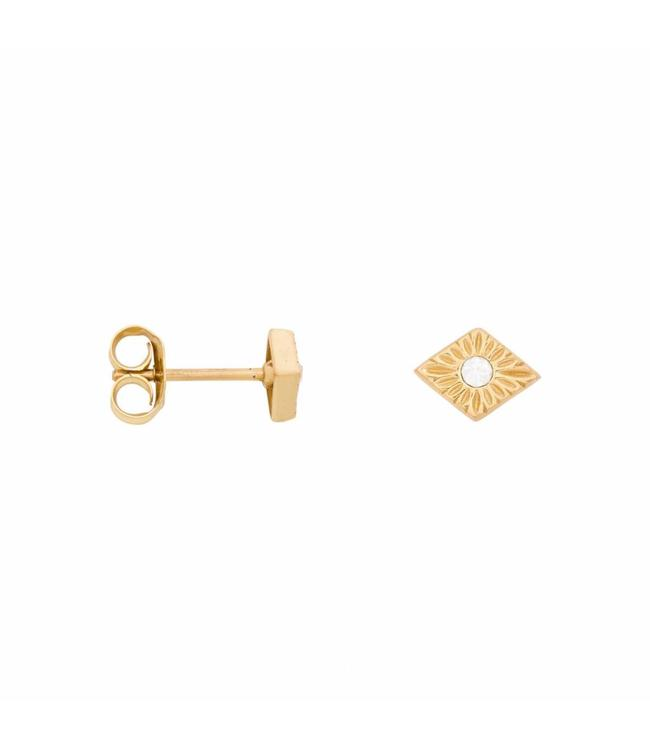 Eline Rosina Oorbel Detailed Zirconia gold
