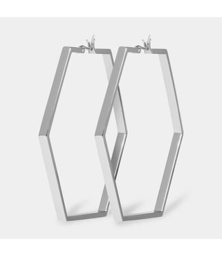Cluse Oorbel Hexagon Essential Silver Large