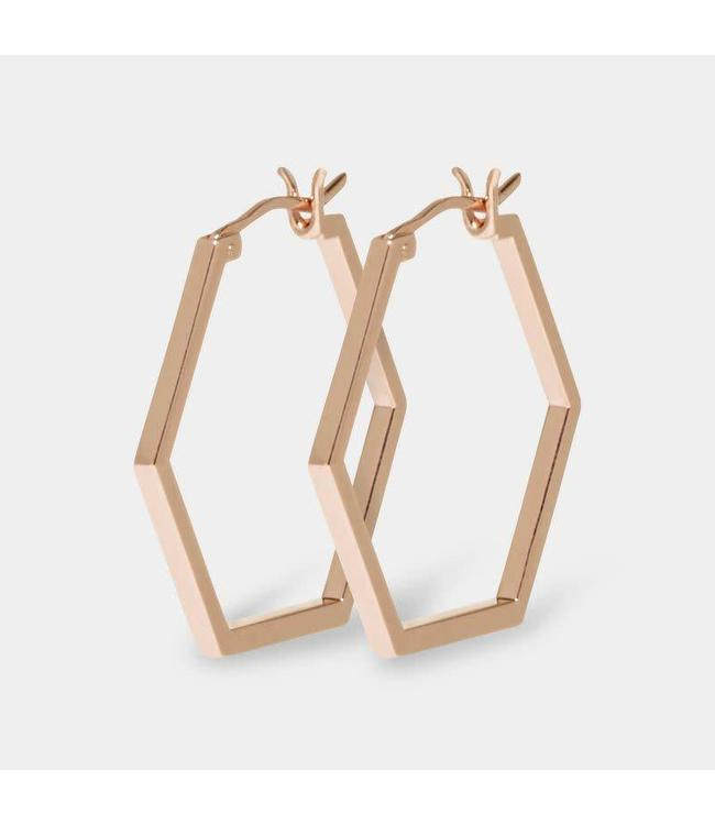 Cluse Oorbel Hexagon Essential Rosegold