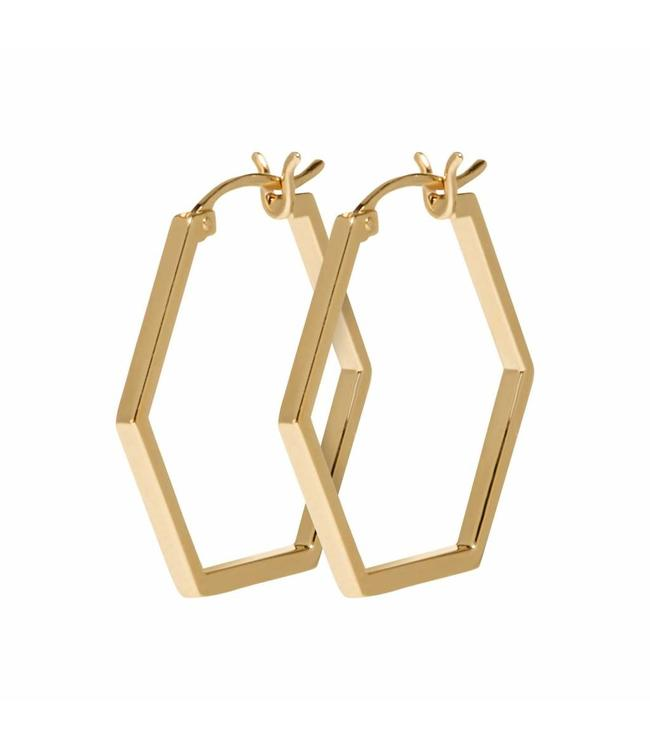 Cluse Oorbel Hexagon Essential Gold