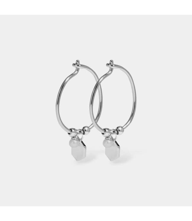 Cluse Earring Hexagon Pearl Silver