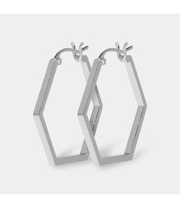 Cluse Oorbel Hexagon Essential Silver