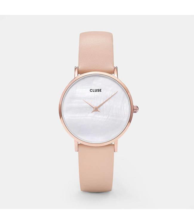 Cluse Uurwerk Minuit la perla rosegold white/nude