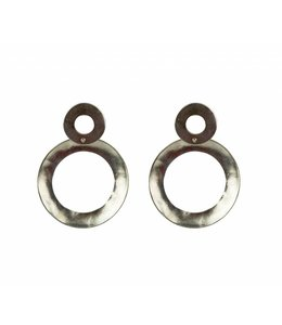 TAIM Oorbel Double Circle Zilver