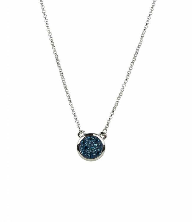 Phantasya Halsketting Crystal round Drop Blue