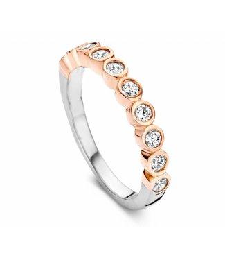 Silver Rose Ring Bicolor rosé zilver crystal