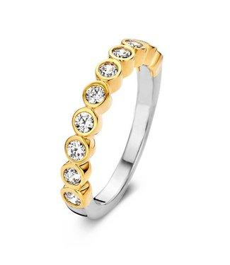 Silver Rose Ring Bicolor goud zilver crystal