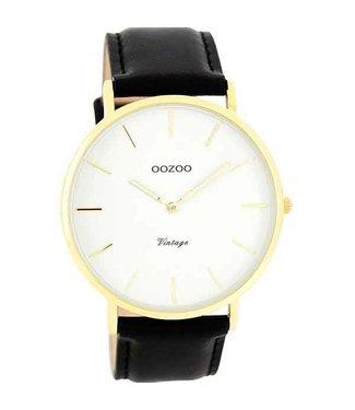 Oozoo Watch Vintage Black/White Gold
