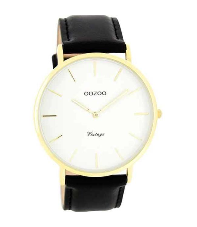 Oozoo Watch Vintage Black/White Gold