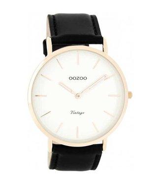 Oozoo Watch Vintage Black/White Rosegold