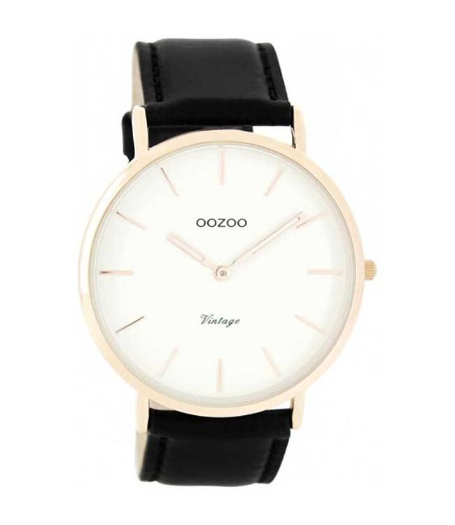 Oozoo Watch Vintage Black/White Rosegold