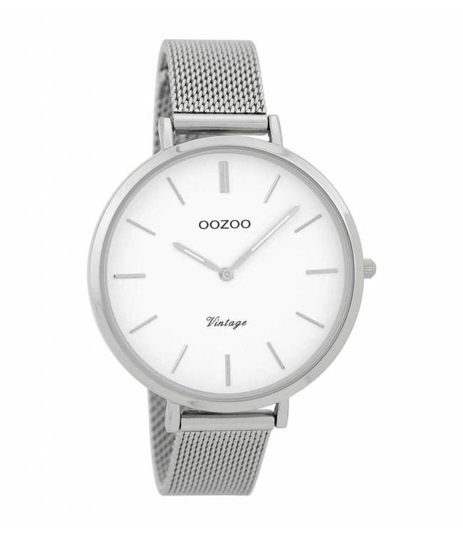Oozoo Watch Vintage Silver White