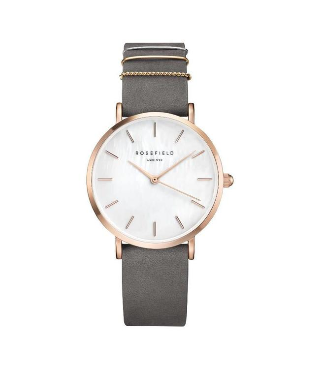 Rosefield Watch West Village Elephant Grey - Rose gold