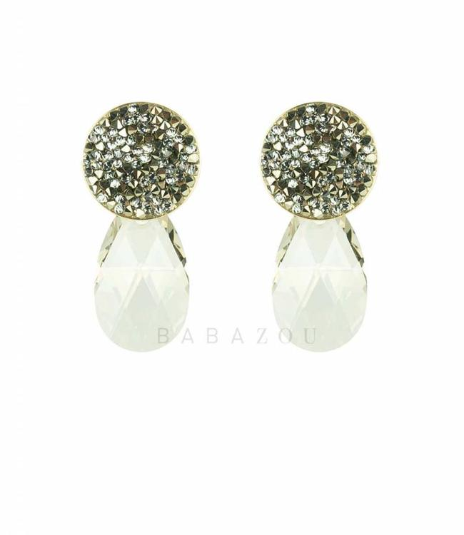 Inge Accessori Earring Swarovski Drop Silver