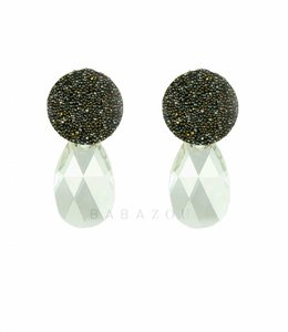 Inge Accessori Oorbel Swarovski Drop Grey