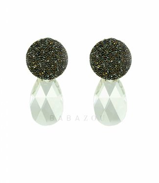 Inge Accessori Earring Swarovski Drop Grey