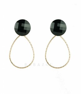 Inge Accessori Oorbel Drop Crystal Black