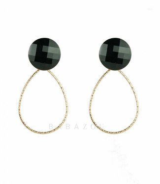 Inge Accessori Earring Drop Crystal Black