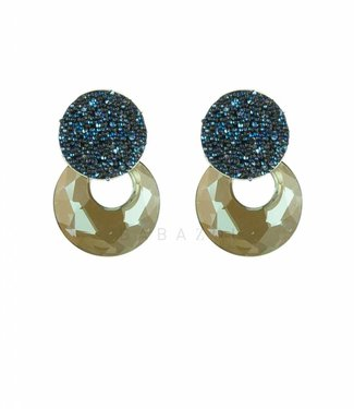 Inge Accessori Oorbel Crystal Blue Drop Mini