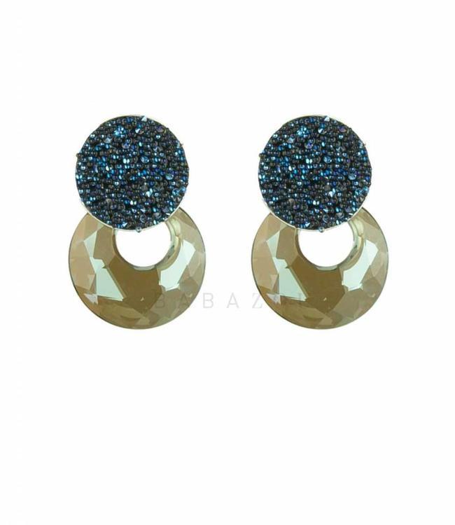 Inge Accessori Earring Crystal Blue Drop Mini