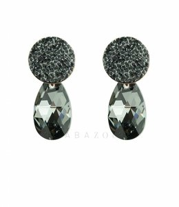 Inge Accessori Oorbel Swarovski Drop Black