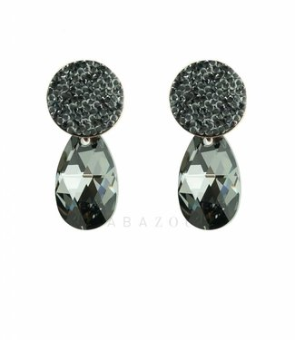 Inge Accessori Earring Swarovski Drop Black