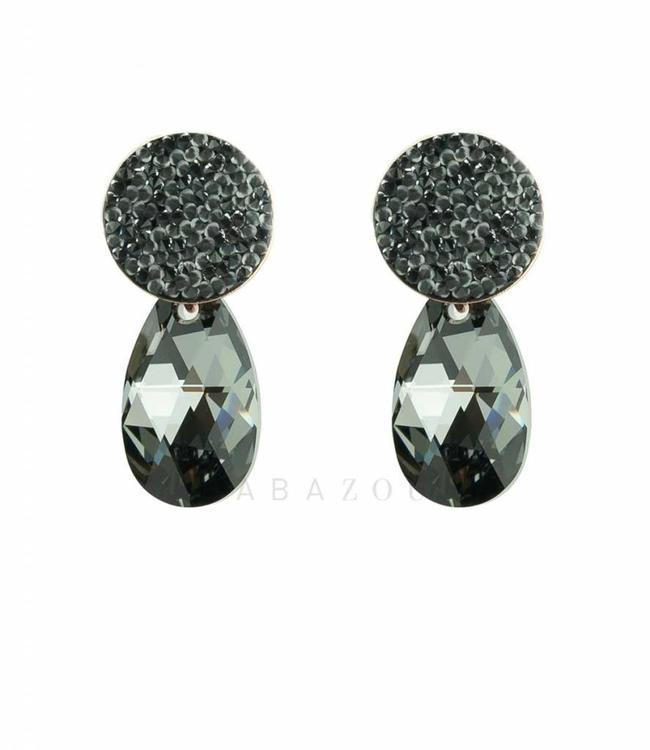 Inge Accessori Earring Swarovski Drop Black
