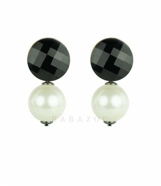 Inge Accessori Oorbel Double drop pearl
