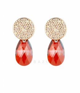 Inge Accessori Oorbel Swarovski Drop Orange