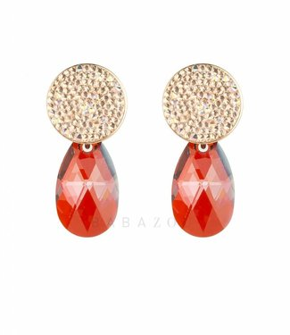 Inge Accessori Earring Swarovski Drop Orange