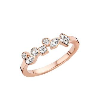 MelanO Bague Friends Mosaic Rosegold Crystal