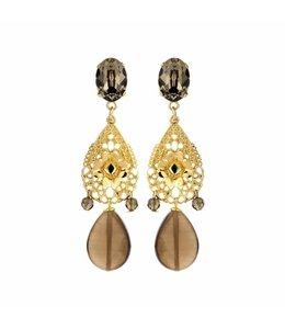 Souvenirs de Pomme Boucles d'oreilles Caroline taupe
