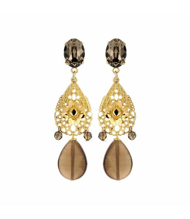 Souvenirs de Pomme Earring Caroline taupe