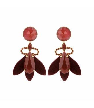 Souvenirs de Pomme Oorbel Nona dark red