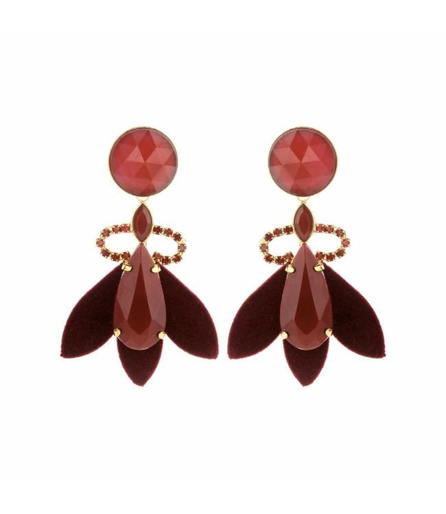 Souvenirs de Pomme Earring Nona dark red