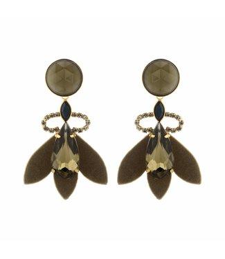 Souvenirs de Pomme Boucles d'oreilles Nona Khaki
