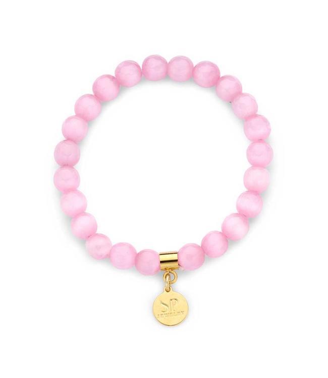 Souvenirs de Pomme Bracelet Beaded Baby Pink