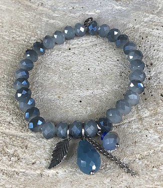 Miracles Armband blue stones silver leaf charm