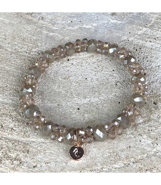 Miracles Armband taupe small & big stones