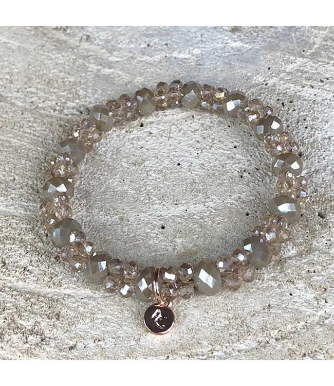 Miracles Bracelet taupe small & big stones