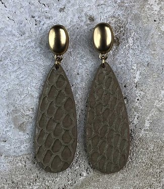 Miracles Earring Amelie real leather gold