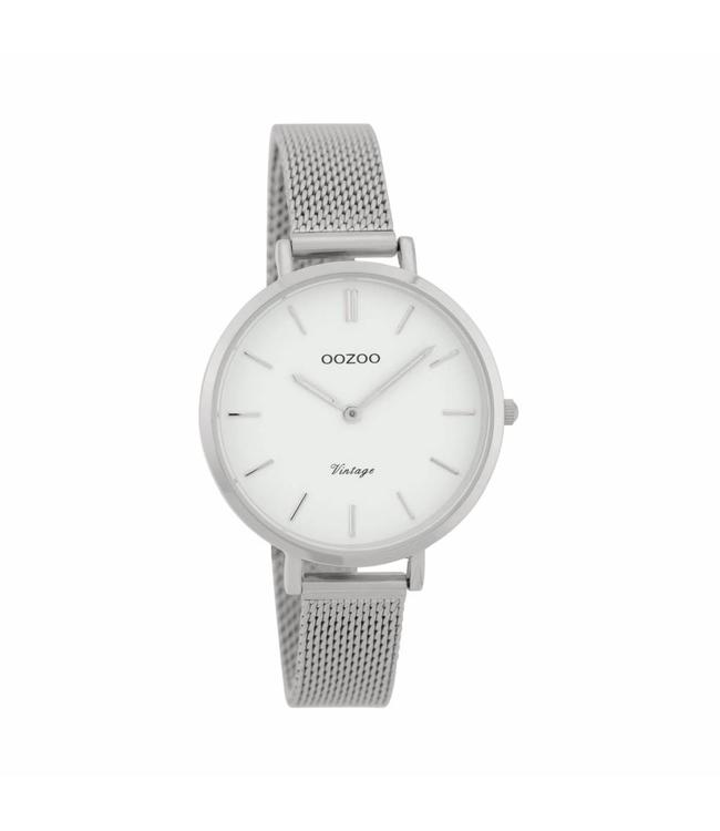 Oozoo Watch Vintage Silver/White